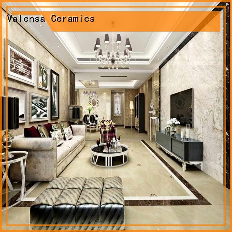 polished white porcelain floor tiles customized for indoor Valensa Ceramics